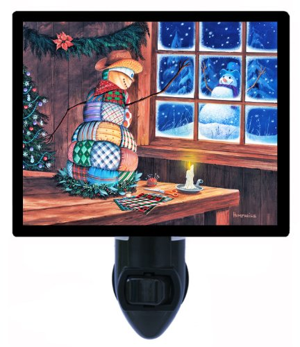 Snowman Night Light, Snowman Patches, Christmas & Holiday Quilting LED Night Light