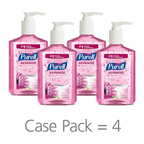 (PURELL Advanced Hand Sanitizer Gel, Spring Bloom Fragrance, 8 fl oz Sanitizer Counter Top Pump Bottles (Pack of 4) - 3014-06-EC)
