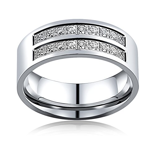 Aienid Rings for Men Wedding Engagement Band Wedding Bands for Women Eternity Promise Engagement Ring With Cz Size 9 by Aienid (Image #3)