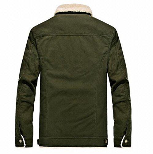 Army Lined Men's Jackets Pockets Fleece Coats Outdoor Lightweight Green MU2M Winter qZxBOx
