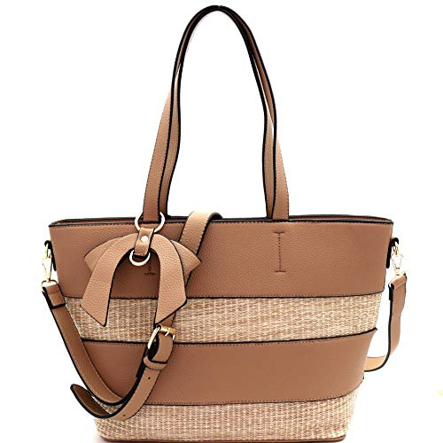Flower Accent Tote - Woven Straw Mixed-Material Bow Accent 2-Way Tote Bag