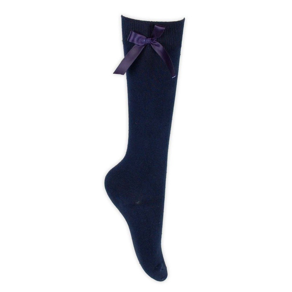 Girls Knee High School Socks With Matching Silky Ribbon Bow Pack of 1 3 6