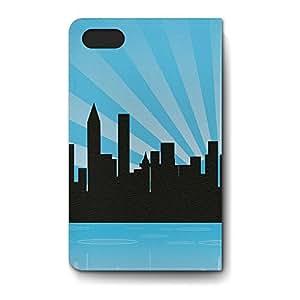 Leather Folio Phone Case For Apple iPhone 4/4S Leather Folio - Blue Metropolis Skyline Stand PU Leather