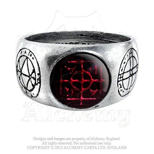 Five Magical Talismans Profit and Protection Agla Red Gemstone Ring By Alchemy Gothic