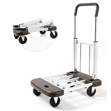 DONG Portátil Carro Plegable con 2 Ruedas Aleación de Aluminio Plano Carrito de Equipaje Carga máxima