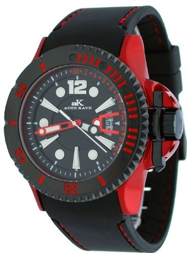 Adee Kaye #AK7779-M Men's Red Aluminum Black Dial Casual Sports Watch