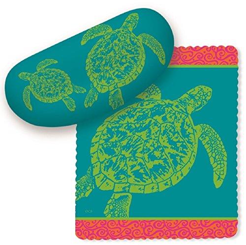 Grean Sea Turtles on Teal Blue Sunglasses Case with Microfiber Lens - Turtles Sunglasses