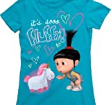 Despicable Me It's Sooo Fluffy! Turquoise Blue Juniors T-shirt (Juniors Medium)