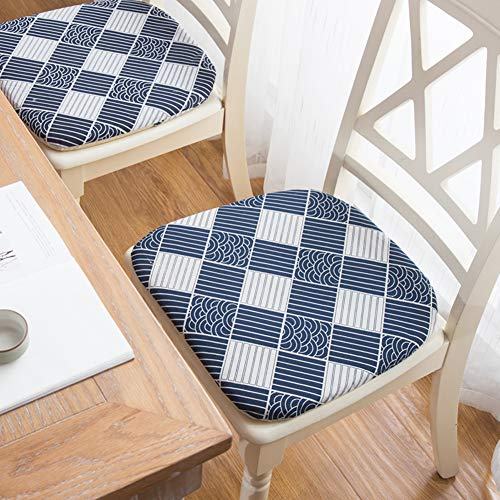 Peacewish Indoor Cotton Blue Plaid Country Checkerboard Cushion Pad for Kitchen/Dining Chair (Navy, Set of 4)