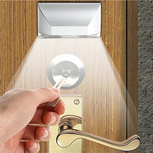 IPUIS Keyhole Light Lamp PIR Infrared Wireless Auto Sensor Motion Detector Door Keyhole with 4 LED Light Lamp Stick-on Anywhere Tap Lights LED Night Light for Key Hole/Door Lock