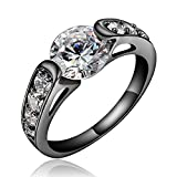 Black Color Clear Rhinestone Mosaic Wedding Engagement Band Ring For Women Size US 7, Stainless Steel Size in 6-9