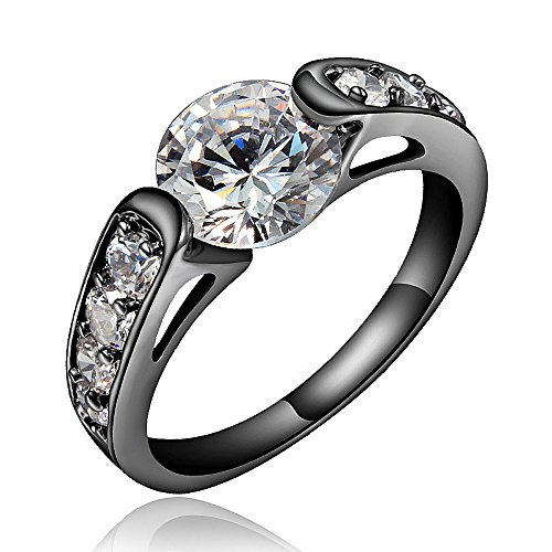 Black Color Clear Rhinestone Mosaic Wedding Engagement Band Ring For Women Size US 9, Stainless Steel Size in 6-9