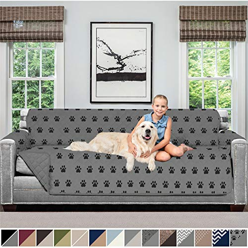 Sofa Shield Original Patent Pending Reversible Oversize Sofa Slipcover, 2 Inch Strap Hook, Seat Width Up to 78 Inch Washable Furniture Protector, Slip Cover for Pets, Oversize Sofa, Paw, Gray Black (Original Xl Cover)