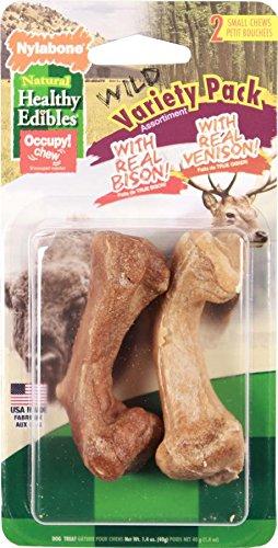 Cheap Nylabone 2 Count Healthy Edibles Wild Variety Turkey & Salmon Dog Treat Bones, Medium