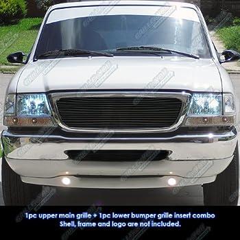 98 00 ford ranger black billet grille grill combo insert