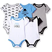 Hudson Baby Baby Infant Cotton Bodysuits, Perfect Gentleman 5 Pack, 0-3 Months