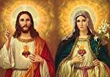 Jesus and Mary POSTER A4-A3 print Sacred heart of Jesus and Virgin Mary painting Religious catholic pictures wall art