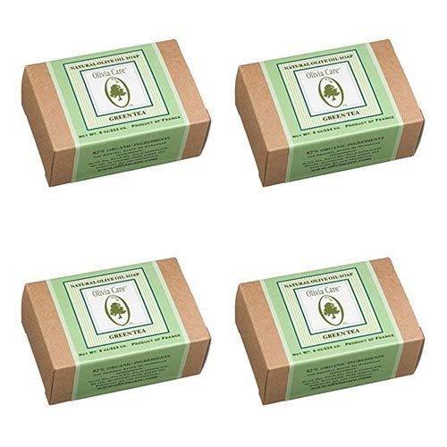 Olivia Care Natural Olive Oil Soap, Green Tea, 8-Ounce Boxes (Pack of 4)
