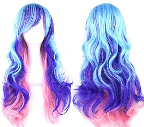 Topwigy Cosplay Wigs Rainbow Long Costume Curly Wave Ombre Colorful Hair Mermaid Wigs with Bangs Party Wig 32