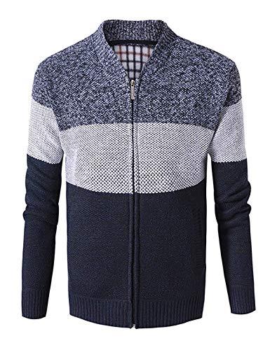 Men's Casual Wide Stripes Zipper Knitted Cardigan Sweater(Navy-Medium) ()