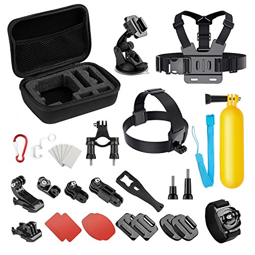 Basic Common Action Camera Outdoor Sports Accessories Kit for Gopro Hero 7/6/fusion/5/Session/4/3/2/HD/HERO+ SJ4000/5000/6000/Xiaomi Yi/AKASO/APEMAN/DBPOWER/Sony Sports DV and More