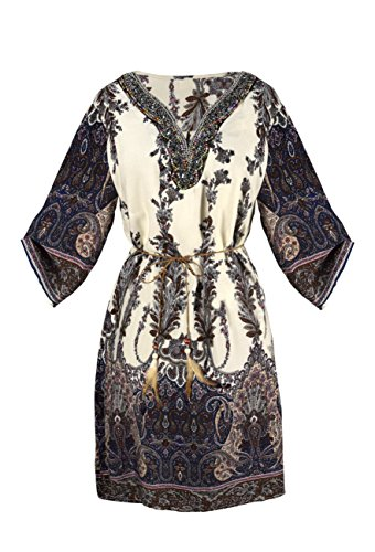 Peach Couture Women's Beaded Gem V Neck 3/4 Sleeve Paisley Border Top Tunic Dress Cream Small