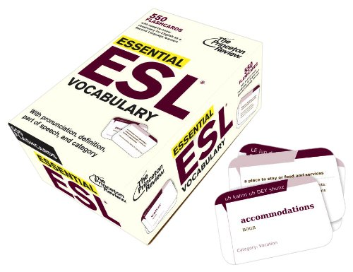 Essential ESL Vocabulary (Flashcards): 550 Flashcards with Need-To-Know Vocabulary for English as a Second Language Learners (College Test Preparation) by Brand: Princeton Review