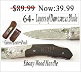 Cheap Holidays, Christmas gift -Personalized Engraved Hunting Pocket Knife Damascus Blade Ebony Wood Handle knife/Leather Sheath Anniversary gift