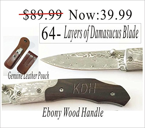 Holidays, Christmas gift -Personalized Engraved Hunting Pocket Knife Damascus Blade Ebony Wood Handle knife/Leather Sheath Anniversary gift Review