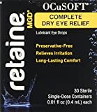 Health & Personal Care : Ocusoft Retaine MGD Ophthalmic Emulsion, Milky White Solution, 30 Single Use Containers - 0.01 fl oz (0.4 mL) each