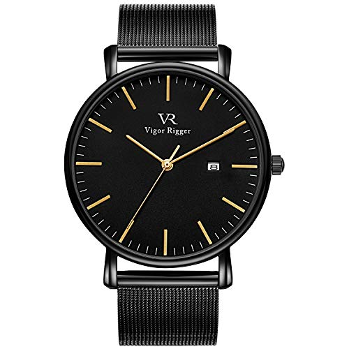 Vigor Rigger Men's Fashion Minimalist Wrist Watch Analog Date with Black Mesh Band