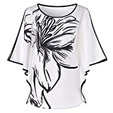 WUAI Casual Shirts for Women, Layered Chiffon Tunic Ruffle Sleeve Round Neck T-Shirt Cover Up(White,Large)