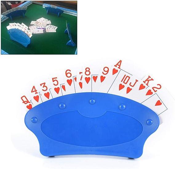 Soporte para cartas de juego, organizador de cartas para barajas, juego de mesa de póquer, juego de base perezosa, organiza las manos fácil de jugar para juegos nocturnos 2 unidades azul: Amazon.es: