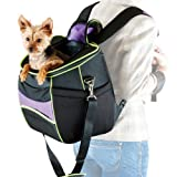 K&H Manufacturing Comfy Go Backpack Carrier Purple/Black/Lime Green 11.5-Inch by 15-Inch For Sale