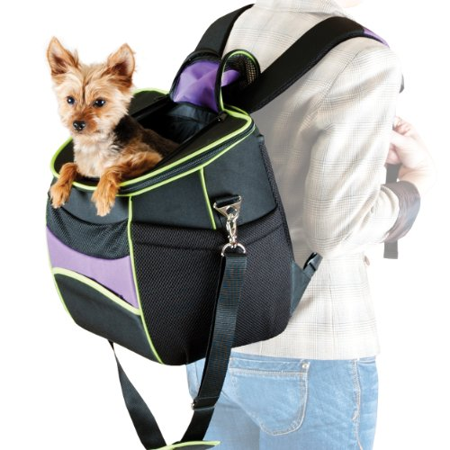 K&H Manufacturing Comfy Go Backpack Carrier Purple/Black/Lime Green 11.5-Inch by 15-Inch