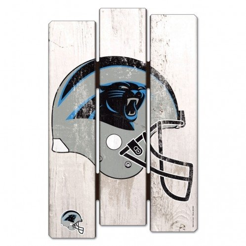 WinCraft NFL Carolina Panthers Wood Fence Sign, Black