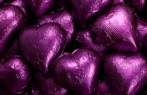 Purple Foiled Milk Chocolate Hearts 1LB Bag