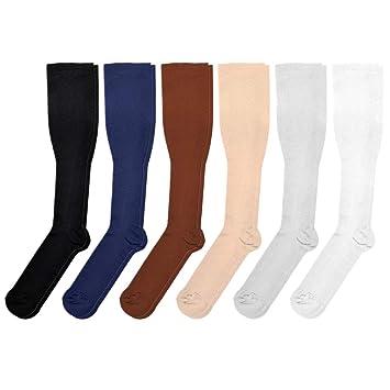 VORCOOL Mujeres Hombres Calcetines de Compresión Sólidos Corriendo Deportes Atléticos Crossfit Vuelo Viaje Tamaño S/