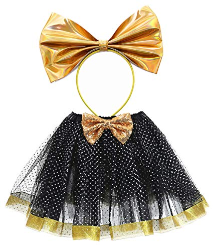 Tutu Dreams LOL Costume Outfit Girls Kids LOL Skirt 80s Vintage Gold Black Headband Birthday Party Dresses (Black, 3-7 Years Old) ()