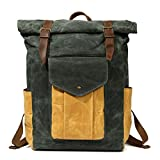Partrisee Vintage Waxed Canvas Leather Backpack Large 17'' laptop Purse Rucksack School Gift Bag for men women-Lake Green