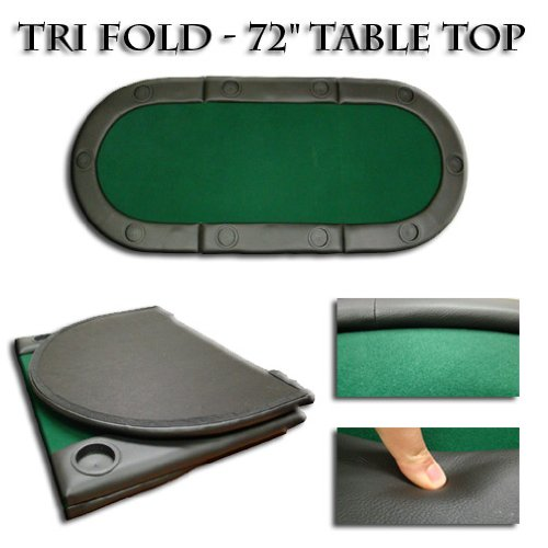 Tri-fold Poker Table Top with Cup Holders - 72 Inches Long!! by Brybelly