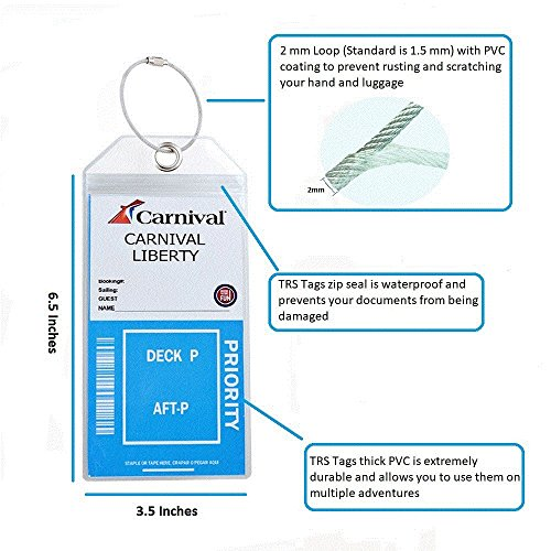 Cruise Luggage Tag Holders w Zip Seal, Coated Steel Loop and Clear Thick PVC (8 Pack) by TRS Tags (Image #5)