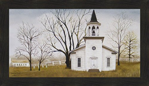 (Amazing Grace by Billy Jacobs 20x34 Country Church Primitive Folk Art Print Wall Décor Framed Picture)