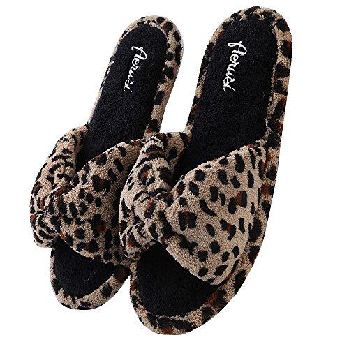 Aerusi Gezellige Open Teen Microterry Slide Pantoffels Leopard