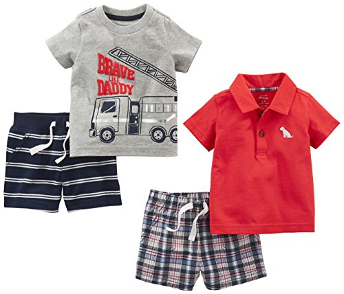 Simple Joys by Carter's Baby Boys' 4-Piece Playwear Set, Red Plaid/Fire Truck/Blue Stripe, 6-9 Months ()