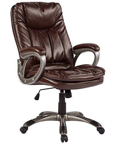 Aingoo Big Tall Boss Chair Vintage Brown Executive Chair with Arm Faux Leather High Back Office Arm Chair for Computer Desk Adjustable Tilt Lock Swivel (Boss High Back Swivel)