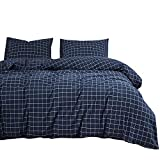 Wake In Cloud - Navy Grid Comforter Set, Navy Blue with White Grid Geometric Pattern Printed, Soft Microfiber Bedding (3pcs, Queen Size)