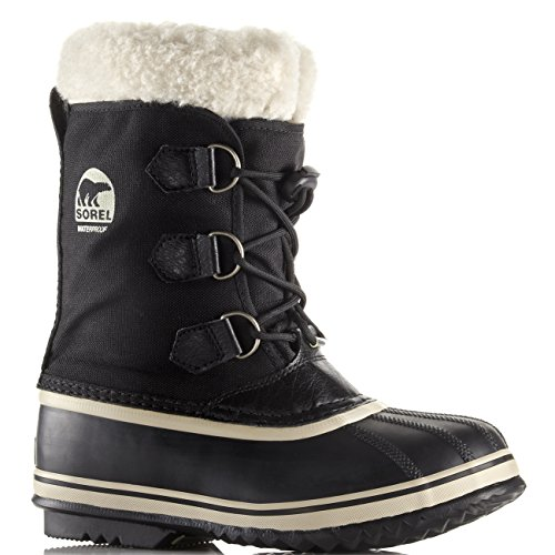 - Sorel Unisex Kids Youth Pac Nylon Fur Lined Waterproof Ankle Snow Boots - Black - 4.5