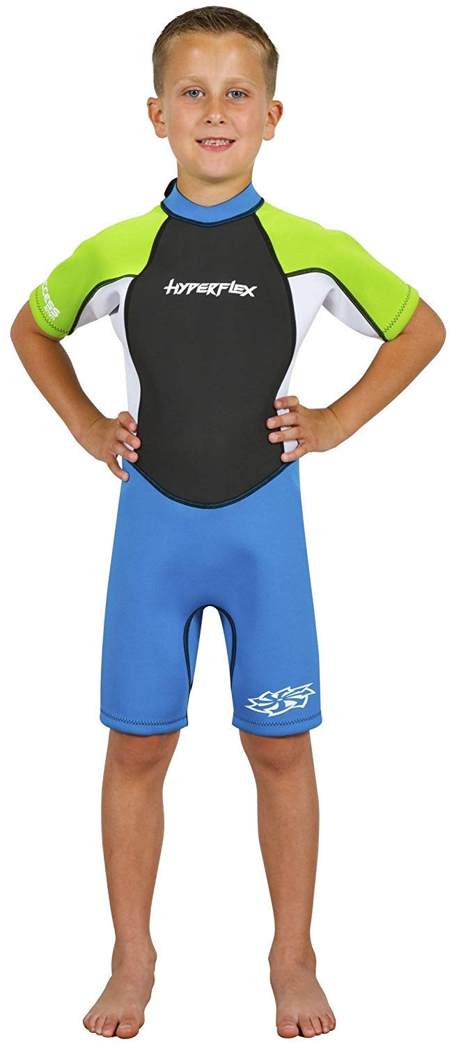 Hyperflex Access Child's Backzip Shorty Wetsuit - Warm, Comfortable Kid's Springsuit with 4-Way Stretch Neoprene and SPF Protection - Adjustable Collar and Flat Lock Construction,(Green Blue, 2) by Hyperflex