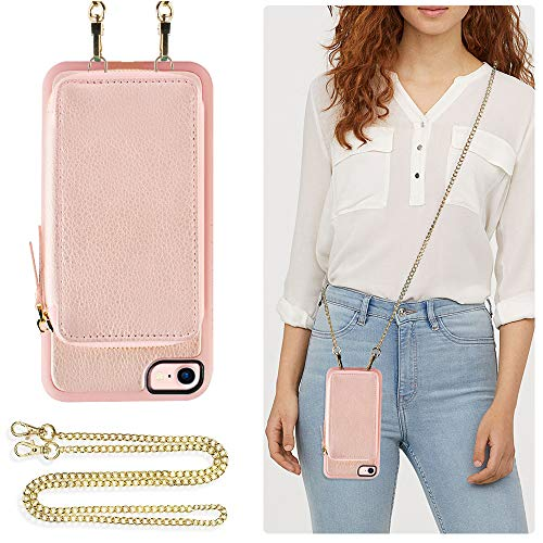 ZVE Wallet Case for Apple iPhone 8 and iPhone 7, 4.7 inch, Leather Wallet Case with Crossbody Chain Credit Card Holder Slot Zipper Pocket Purse Wrist Strap Case for Apple iPhone 8/7 - Rose Gold Cross Cell Phone Case